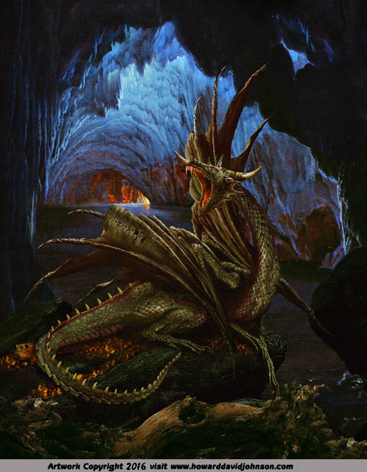 great dragon nidhoggr Níðhöggr cave picture fine art fantasy